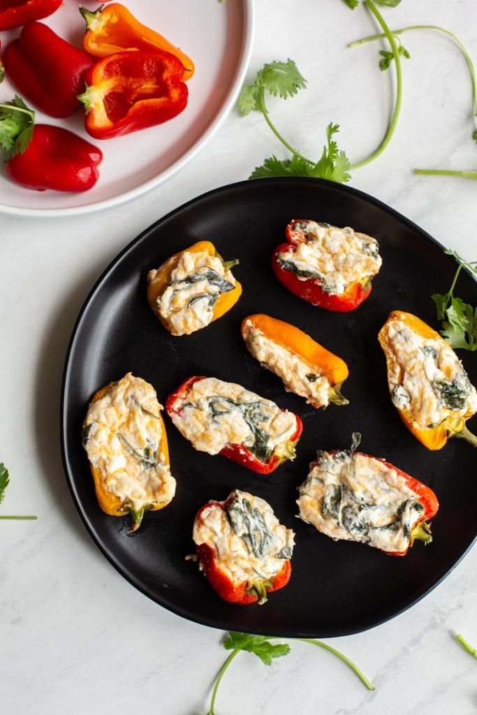 easy stuffed peppers with spinach and cream cheese