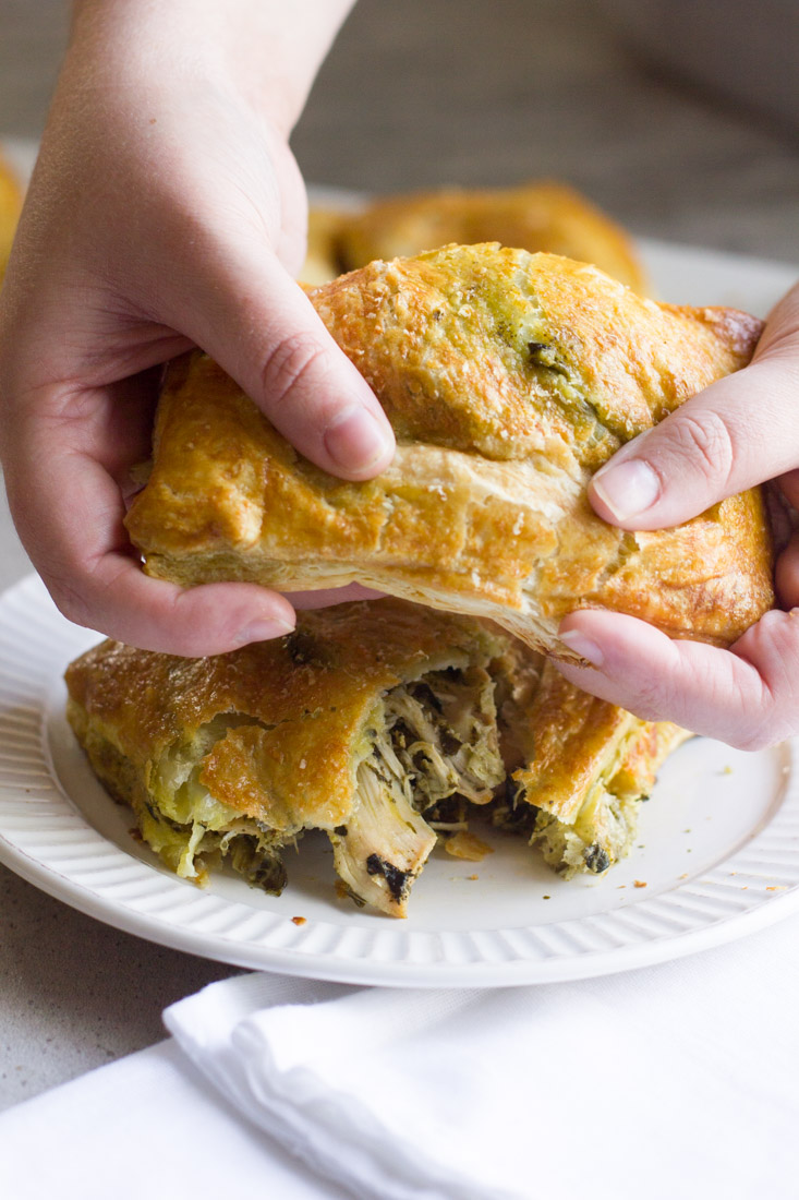 Pesto Chicken Copy Cat Hot Pockets are an excellent alternative to the store bought version. Use your own puff pastry or the recipe included and swap the ingredients to make it your own!