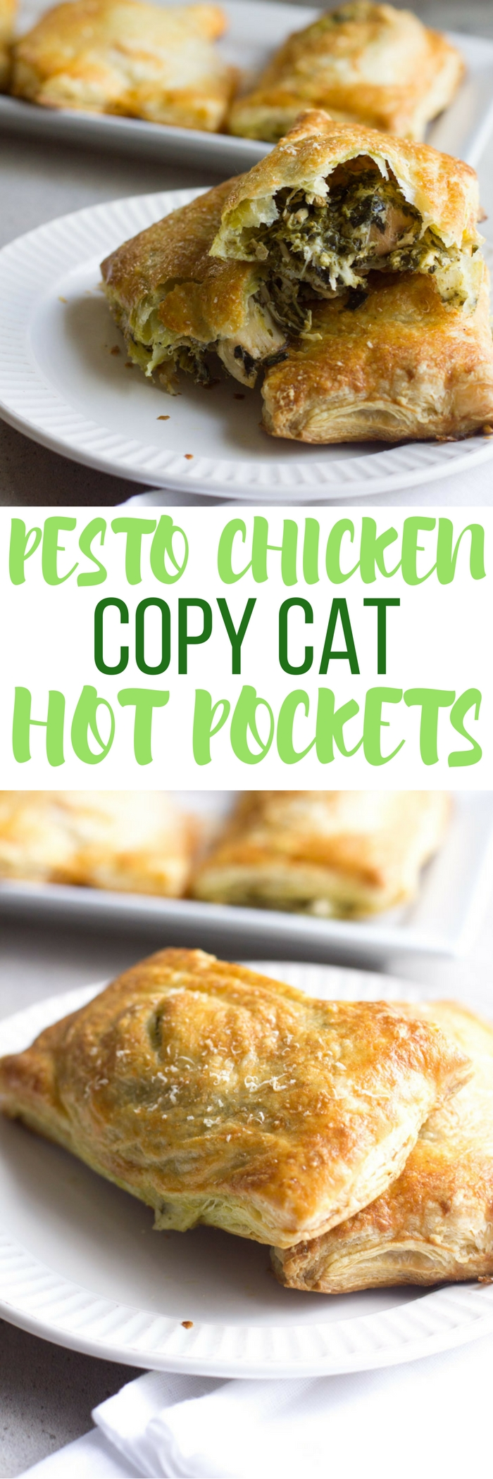 Copycat Pesto Chicken Hot Pockets are an excellent alternative to the store bought version. Use your own puff pastry or the recipe included and swap the ingredients to make it your own!