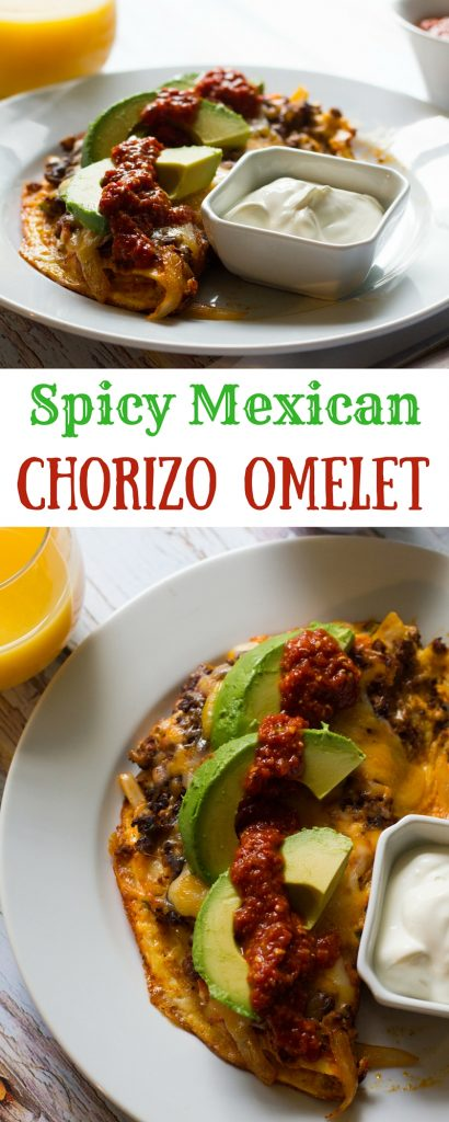 A spicy mexican chorizo omelet, jam-packed with chorizo, onions and peppers and topped with cheese, avocado and salsa. Based on my favorite breakfast dish, the Hey Lucy!