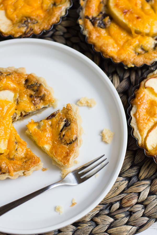 Some of the best things are sweet and savory! Apple, cheddar cheese and radicchio combined in this buttery quiche makes for a surprisingly sweet and savory bite of brunch-y goodness. Don't knock it 'til you try it!