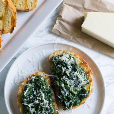 Spinach Asiago Bruschetta
