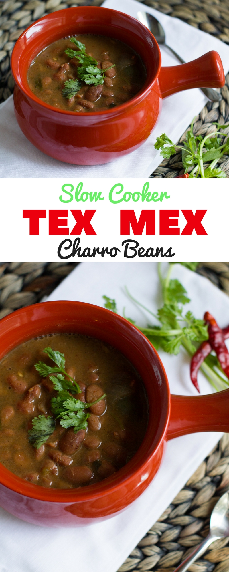 """Tex Mex Charro Beans. The easiest """"set-and-forget"""" slow cooker dish that will leave your house smelling like Tex Mex heaven."""