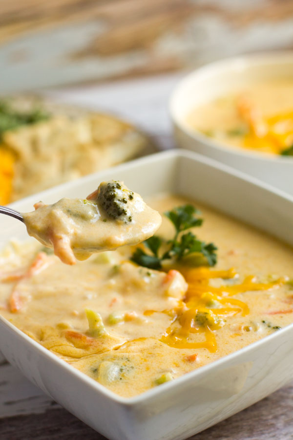 A warm hug in a bowl. With broccoli, carrots and cheddar cheese, this soup is sure to put a smile on your face.