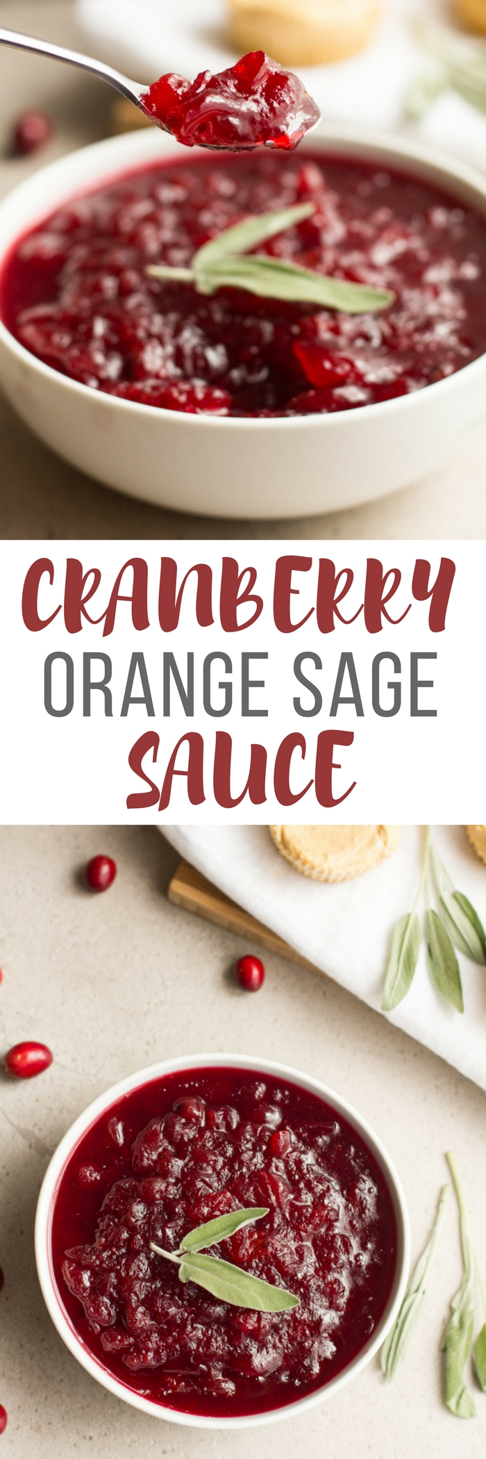 Cranberry Orange Sage Sauce is an easy and fast recipe for homemade cranberry sauce. Make Thanksgiving meal prep easy by making this ahead.