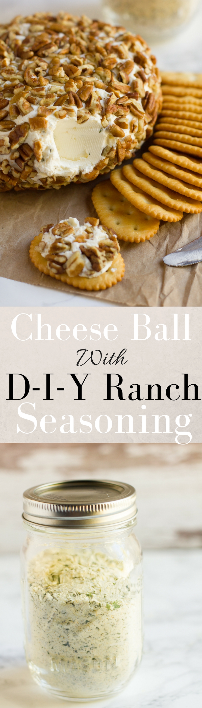 This festive cheese ball is ready in 10 minutes or less and includes a recipe for DIY ranch seasoning!