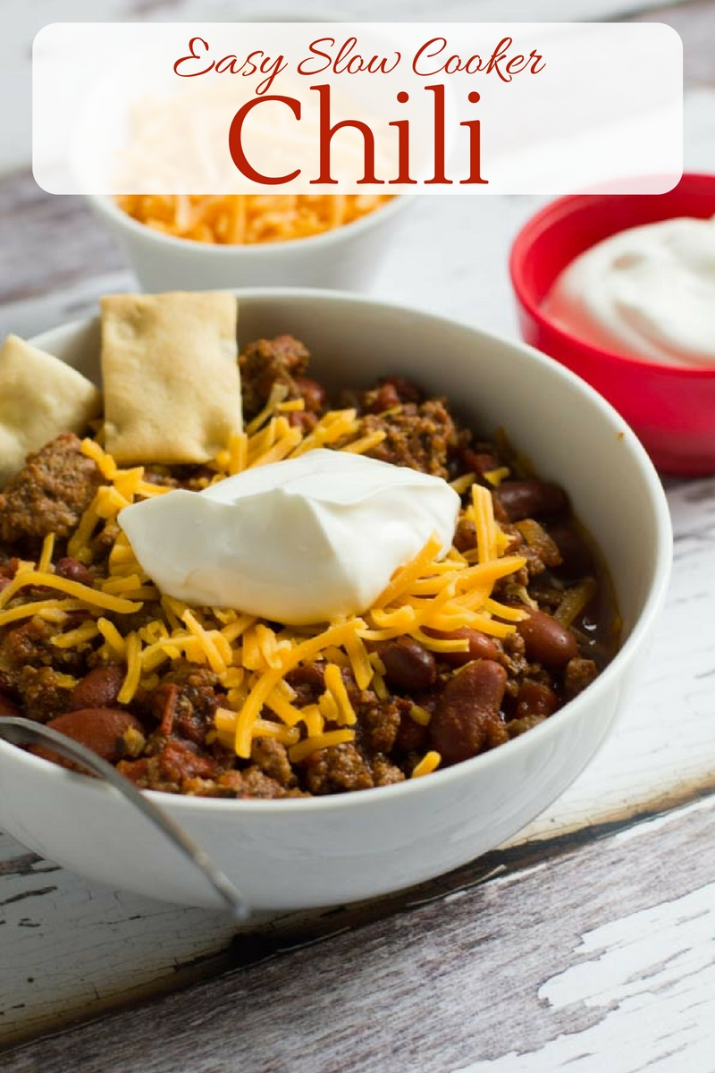 This easy set-and-forget slow cooker chili is perfect year round, whether it's game day, a cold winter's day or a summer cookout.