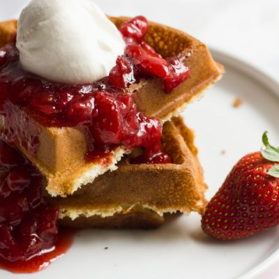 Waffles with Strawberry Syrup and Homemade Whipped Cream