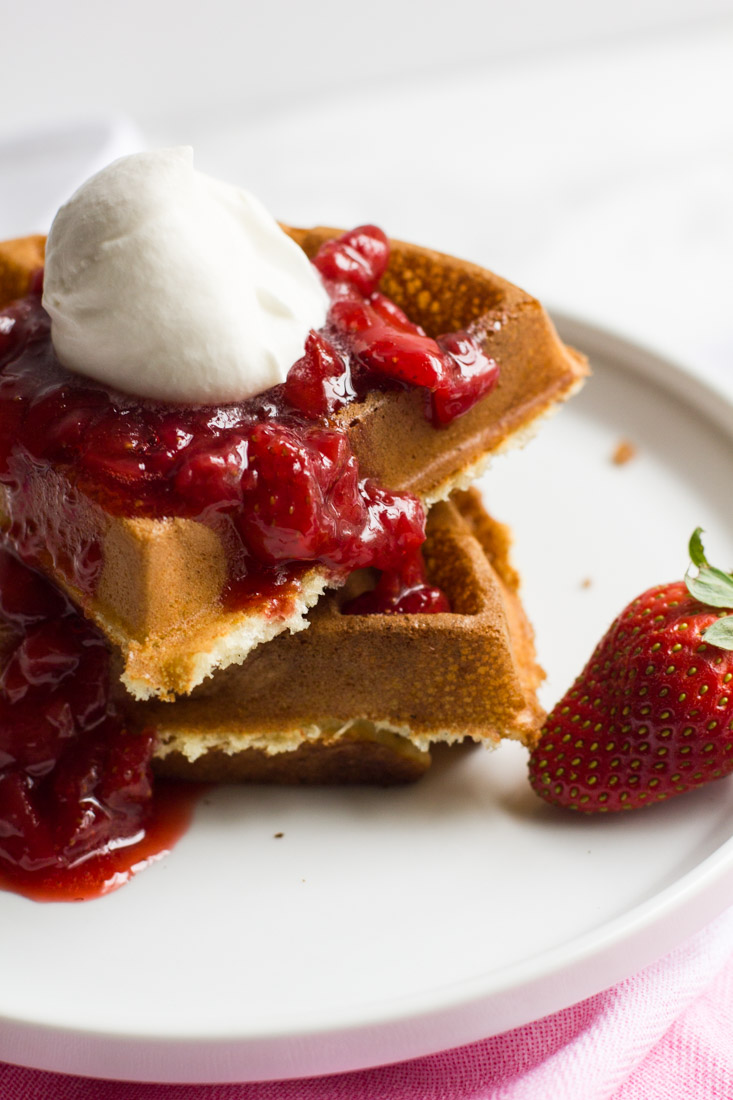 Fluffy Belgian waffles & strawberry syrup, with a heaping spoonful of homemade whipped cream! Great for breakfast in bed on special days, or we have suggestions for an awesome waffle bar to celebrate the return of Stranger Things!