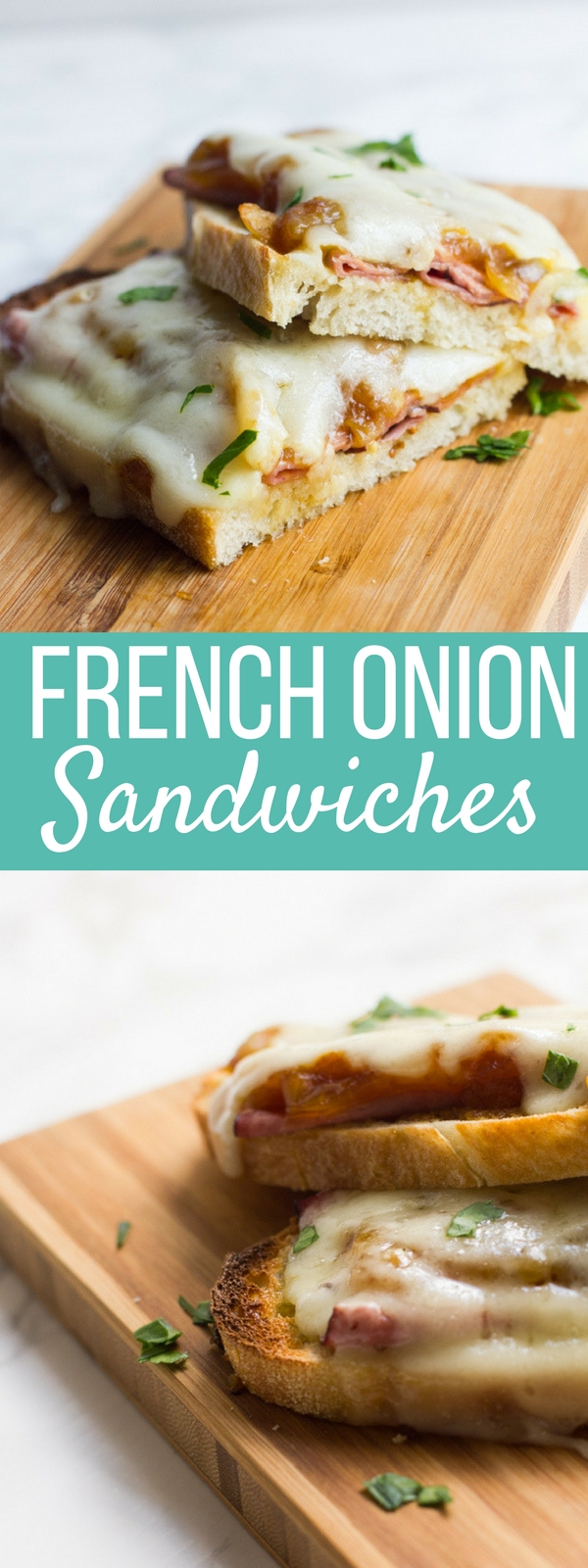 This recipe is all of the goodness of a french onion soup on a sandwich with flavors of roast beef, caramelized onions and melty swiss cheese!