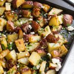 Mediterranean Roasted Potatoes | Sheet Pan Potatoes | Roasted Potatoes | Potato | Sheet Pan Mediterranean | Vegetarian | Side Dishes | Easy Side Dishes