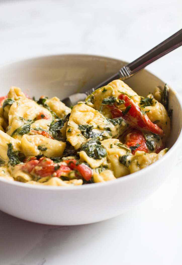 Tortellini | Roasted Red Pepper | Spinach | Tortellini with Spinach and Roasted Red Peppers | Easy | Pasta | Cheesy Tortellini | Fast Dinner