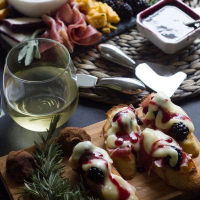 Prosciutto, Brie and Blackberry Crostini