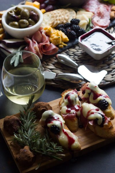 Prosciutto, Brie and Blackberry Crostini