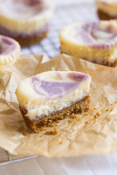 Blueberry Lavender Mini Cheesecakes