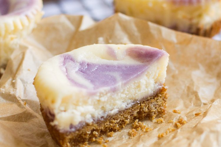 Blueberry Lavender Mini Cheesecakes are a cute addition to any springtime party. They're light, fruity, floral and fun!