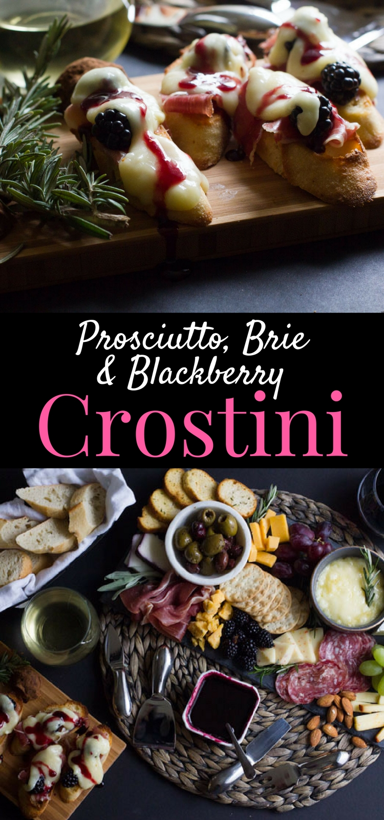 Prosciutto, Brie and Blackberry Crostini is a fast, simple and easy appetizer that's perfect for parties and a quiet dinner alike. #ad