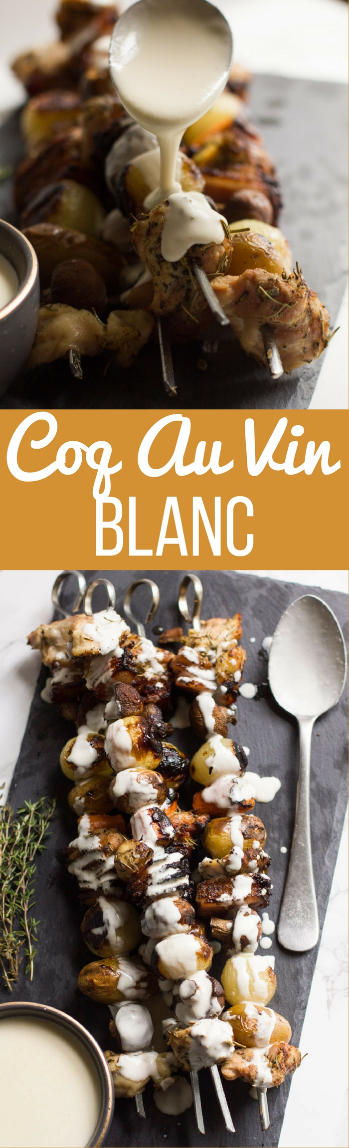 coq au vin blanc on skewers away from the box. Black Bedroom Furniture Sets. Home Design Ideas