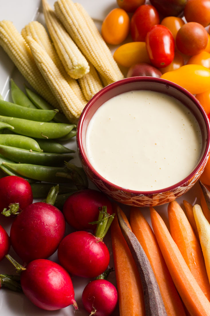 This 5 minute garlic aioli is super easy and flavorful. Perfect as a dip for veggies and fried potatoes or a spread for sandwiches.