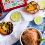#ad #ElevateYourPlate with Dorot this summer with this recipe for Smoky Peach Margarita Sorbet. It's smooth, sweet, smoky and delicious.
