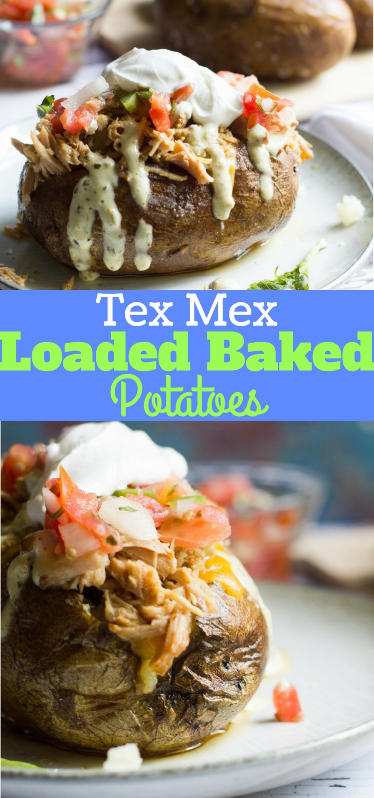 These easy Tex Mex loaded baked potatoes are topped with a slow cooked Tex Mex style pulled pork, cheese, pico de gallo and jalapeno ranch. A hearty and easy to prepare meal!