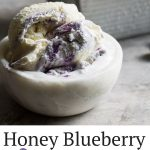 Honey Blueberry Lavender Ice Cream is the most incredible artisanal ice cream you can easily make at home! The blueberry lavender syrup can be made ahead of time and used in many applications.