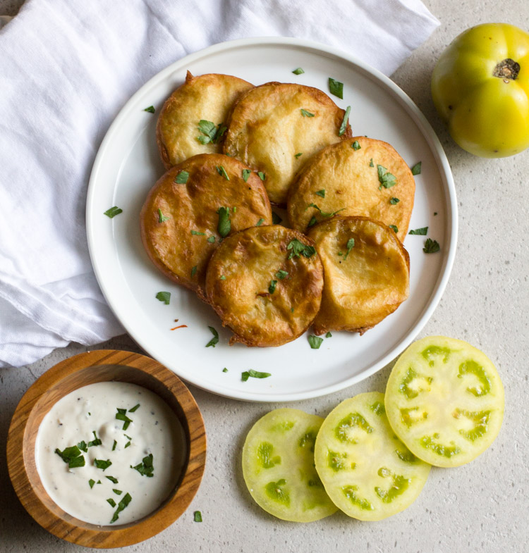Fried green tomatoes are made super quick and easy with this beer-free batter!