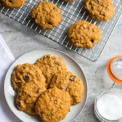 Pumpkin Oatmeal Cookies with Dark Chocolate and Sea Salt