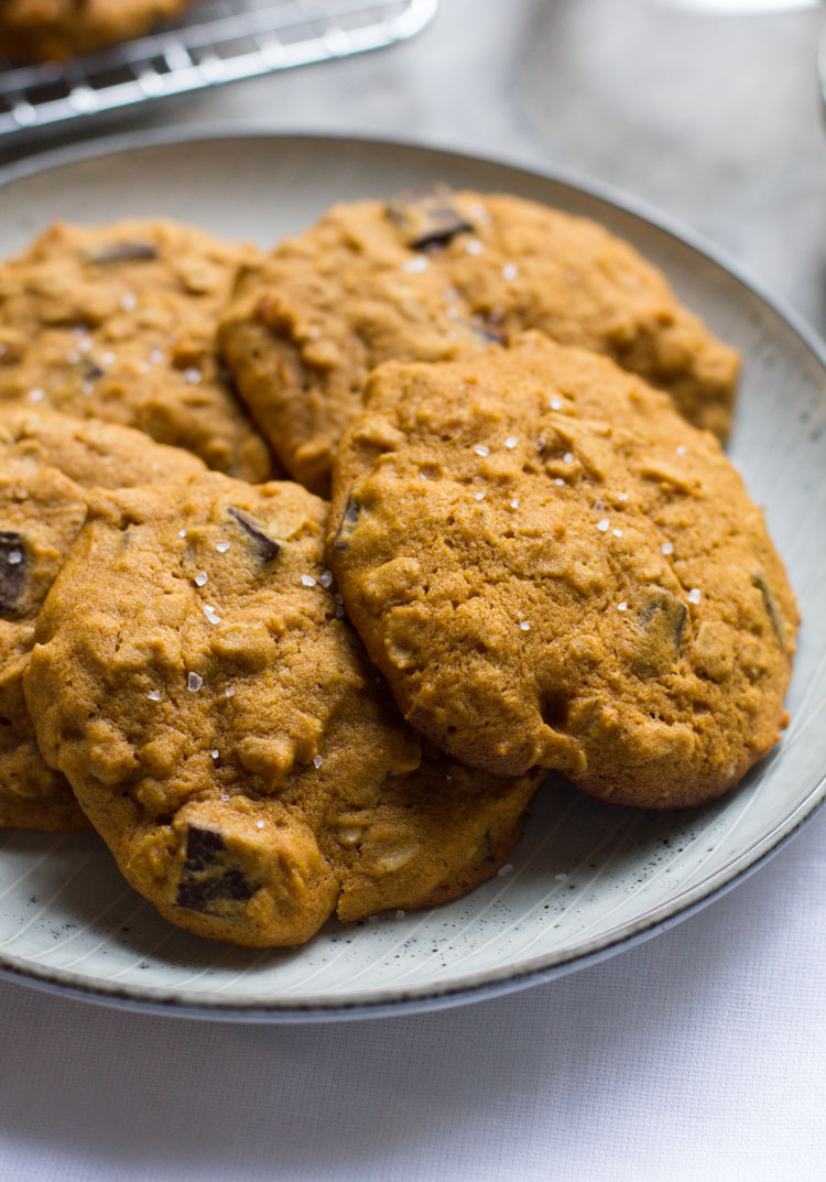 Pumpkin Oatmeal Cookies with Dark Chocolate and Sea Salt are the best way to enjoy the fall baking season. Enjoy with a nice cup of coffee and a comfy blanket.