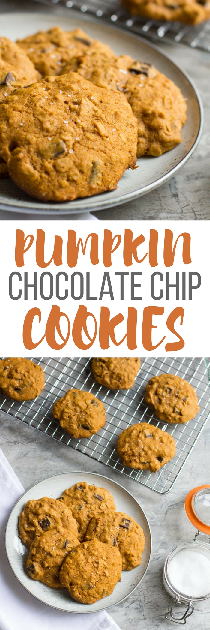 Pumpkin Oatmeal Cookies with Dark Chocolate and Sea Salt are the best way to celebrate the fall baking season. Perfect with a cup of coffee or some milk, they make the best snack, dessert or even breakfast!
