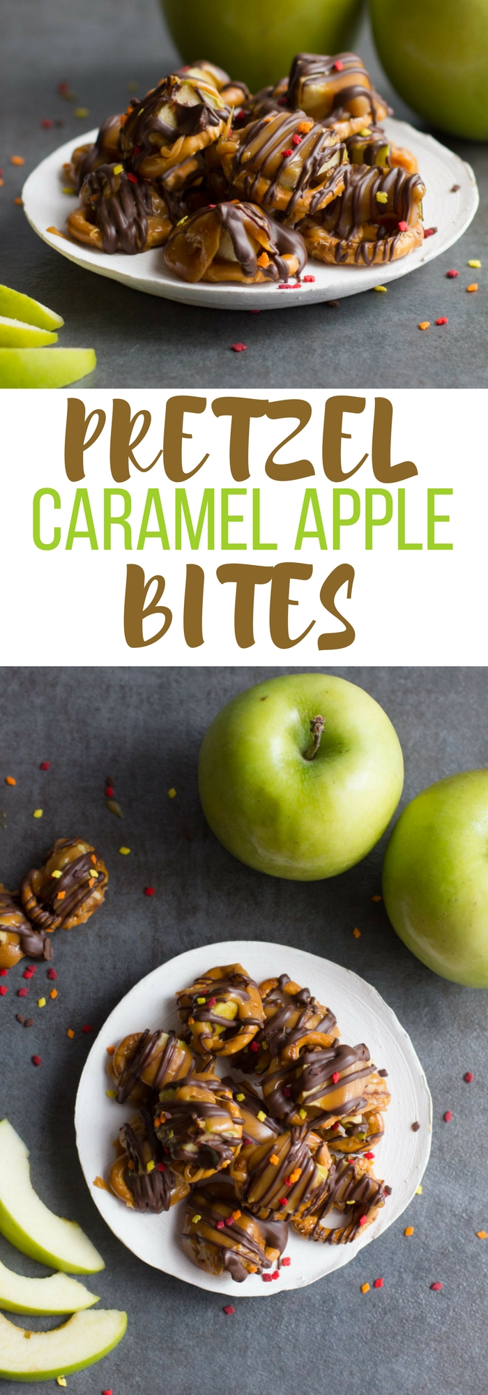 These caramel apple pretzel bites are a fun party treat. Get the awesome fall caramel apple flavor without the mess!