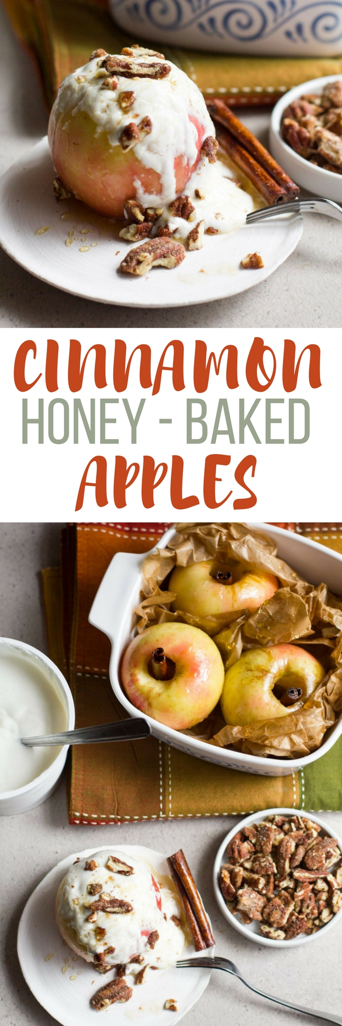 An awesome fall dessert that can be enjoyed anytime of year. These cinnamon honey-baked apples are the perfect dessert when you want all of the flavors of apple pie! #ad