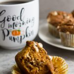 Pumpkin White Chocolate Chip Muffins. Delicious bakery style muffins with flavors of pumpkin spice and white chocolate chips. The perfect fall breakfast!