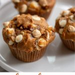 Big, bakery style White Chocolate Chip Pumpkin Muffins loaded with white chocolate chips and pumpkin spice make for a most delicious and moist muffin!