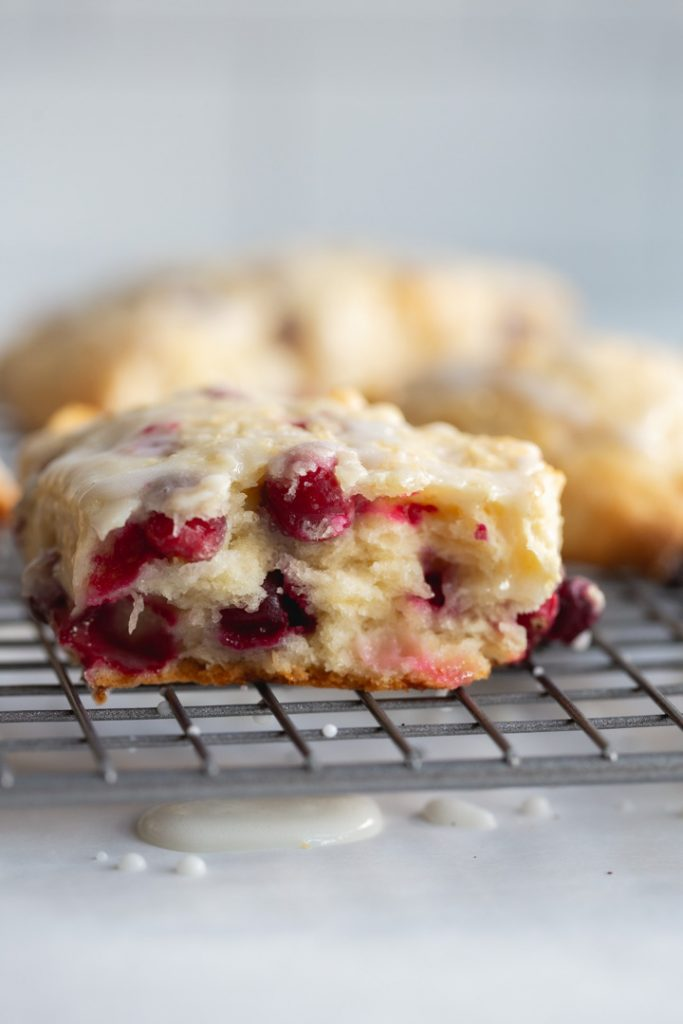 the inside of a cranberry scone