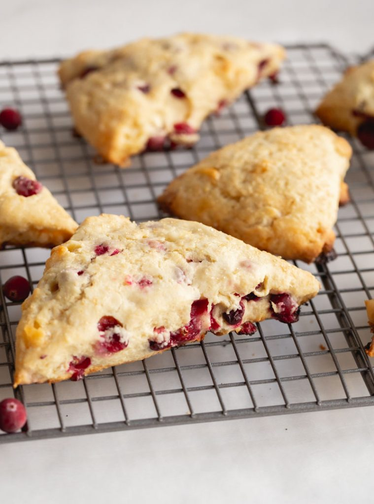 cranberry scones on a cooling rack