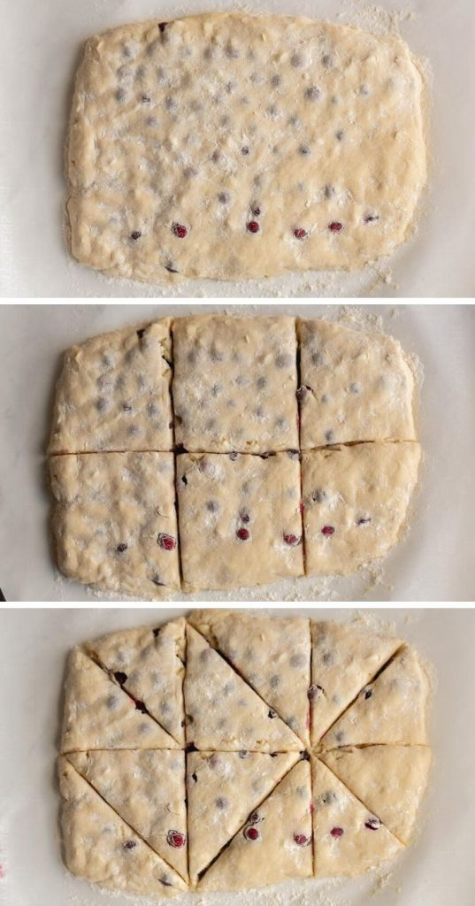 cranberry scone dough laid out to show how to cut scones
