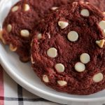 These Red Velvet Cookies are made with a simple, classic recipe. Crispy on the outside, soft and chewy on the inside. They're perfect for Valentines Day!