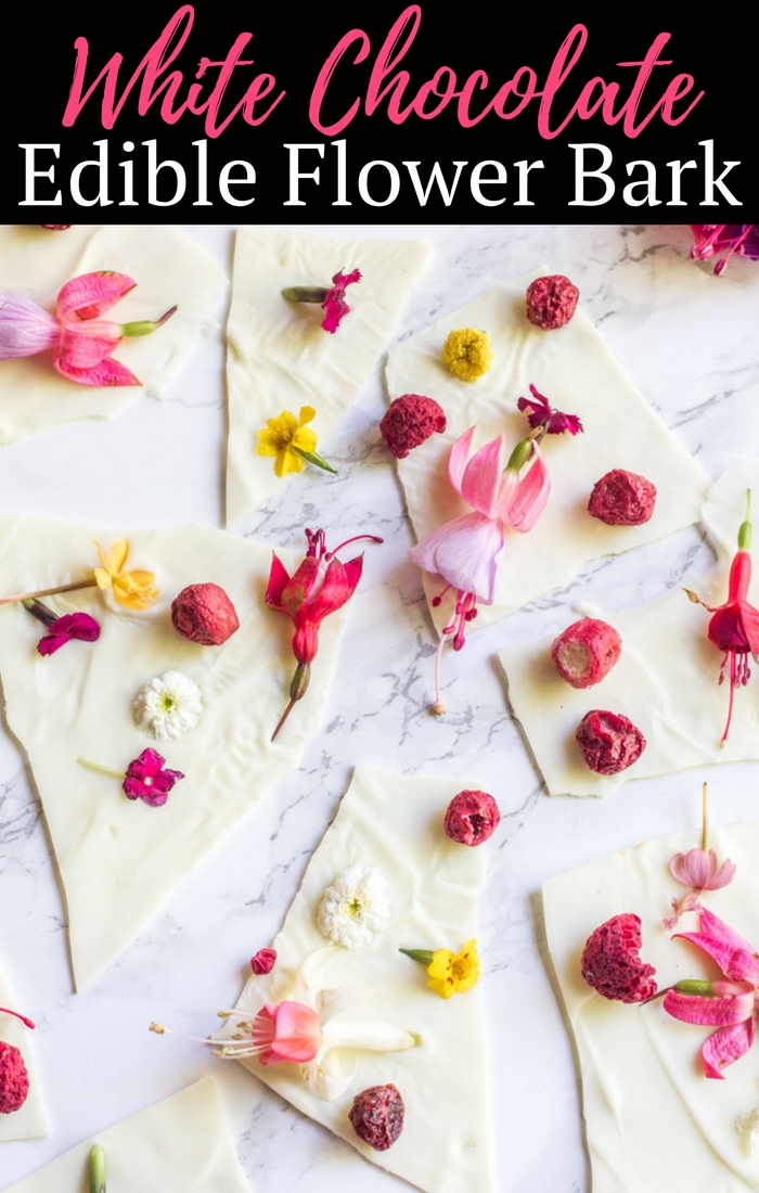 Impress your friends with this White Chocolate Edible Flower Bark - it is the sweetest addition to any springtime party!
