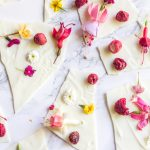 white chocolate bark with edible flowers