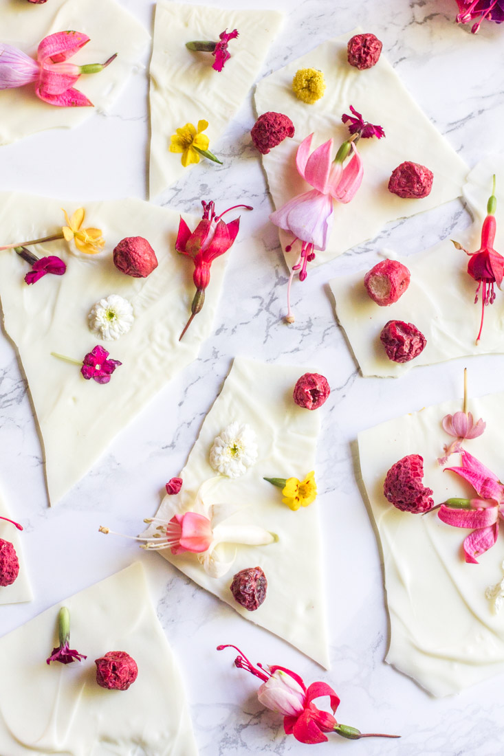 White chocolate flower bark yes with edible flowers away from white chocolate bark with edible flowers mightylinksfo