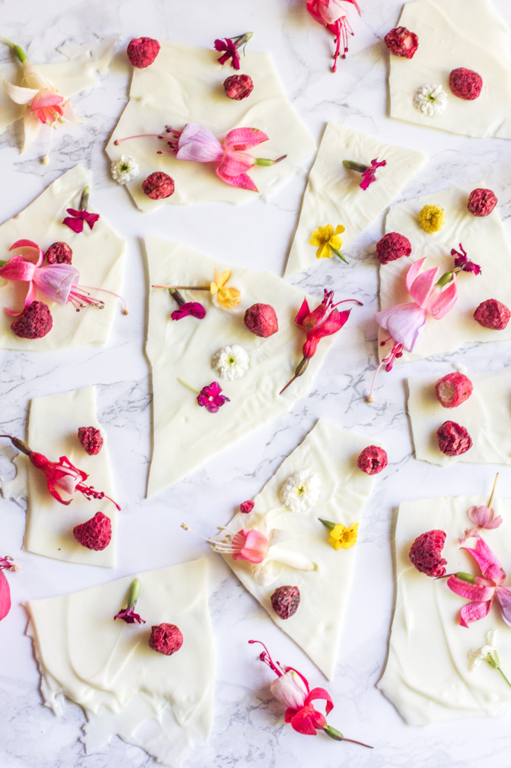 white chocolate bark with edible flowers and dried fruit