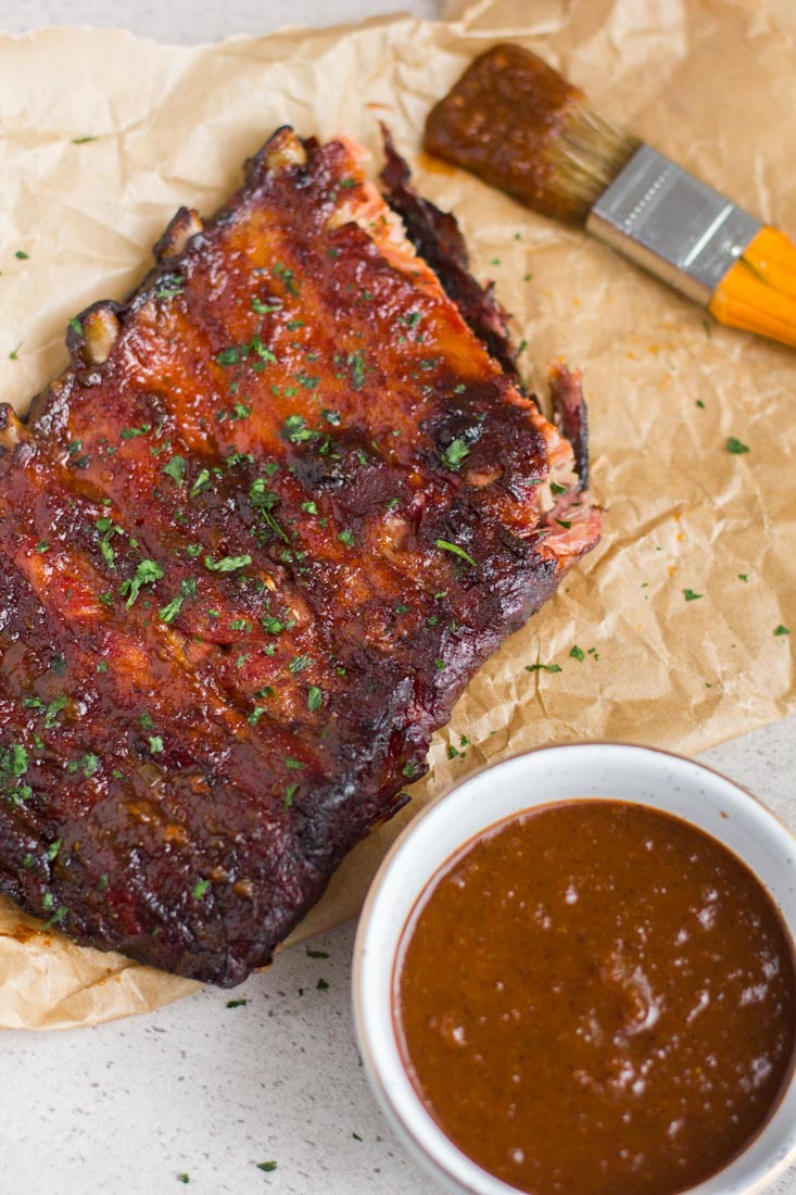 rack of ribs on a table