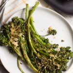 Sheet Pan Parmesan Roasted Broccolini on a plate