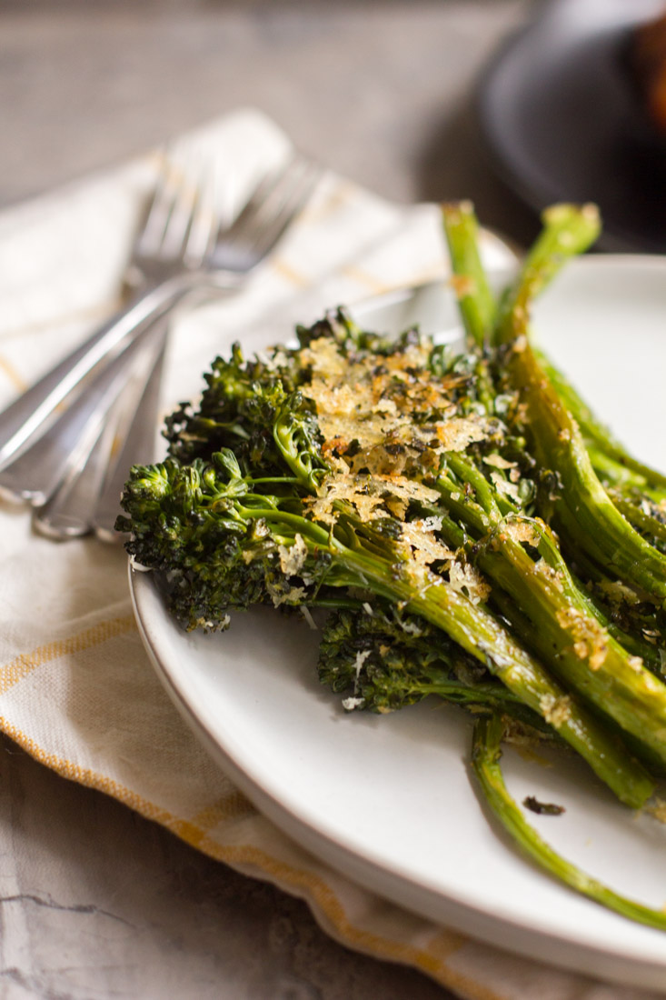 Sheet Pan Roasted Broccolini on a plate