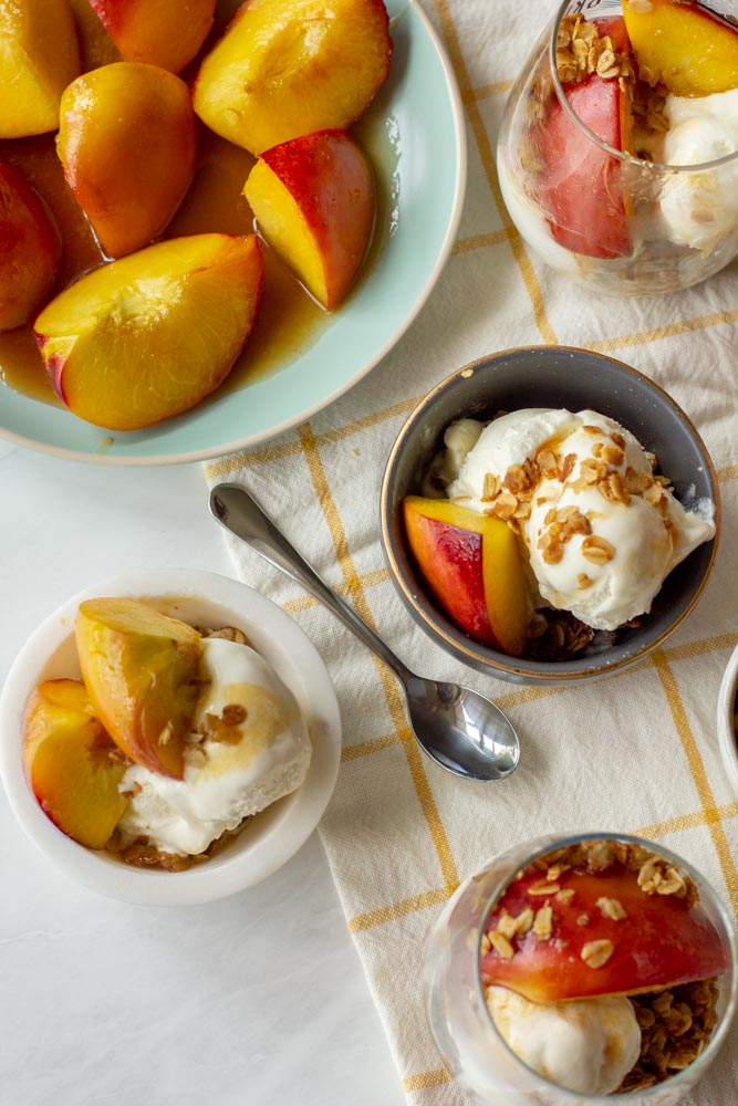 This Peach Sundae has Honey and Toasted Oats - it's an easy and elegant dessert to round out a summer dinner or party.