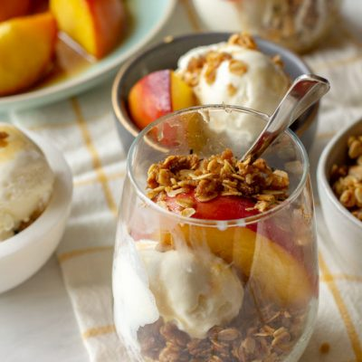 Peach Sundae with Honey and Toasted Oats
