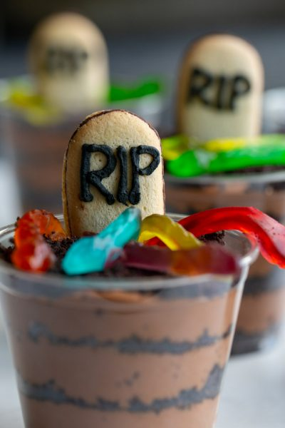 Spooky Baileys Chocolate Mousse Cups