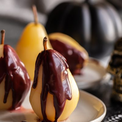 Easy Poached Pears with Bloody Red Velvet Sauce