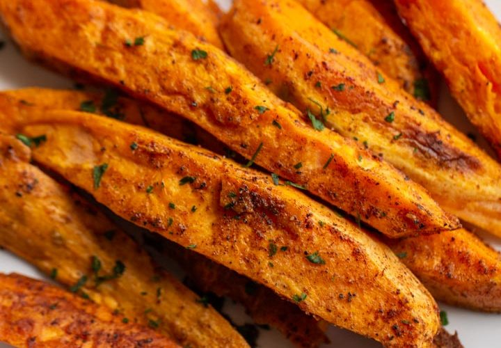 roasted sweet potato wedges on a plate